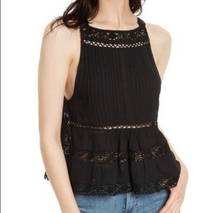 Free People Black Constant Crush Button Tank Top